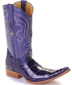 Estilo clásico Purple anguila botas de vaquero de cuero para hombres
