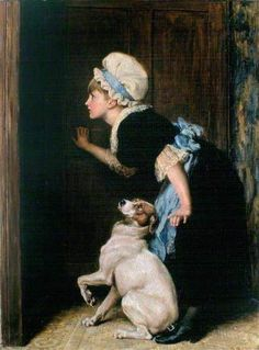 Riviere, Briton (b,1840)- Mother Hubbard Eavesdropping, 1882 -2a: