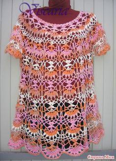 Туника- зимний вариант. Узор очень понравился, хотя пришлось потренироваться, чтобы получался.  Пряжа  Alize Real 40 Angora Batik Design, color 3948, 100г/480м, крючок №2,5.