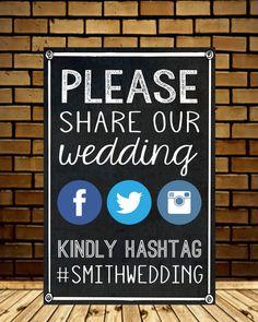 FACEBOOK INSTAGRAM WEDDING SIGN No photos on social media until evening stars