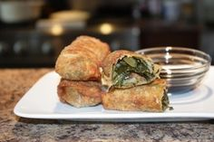collard greens egg rolls, I like to add fontina cheese and dip in mango chutney.  mmmm.