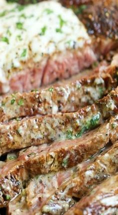 Steak with garlic cream sauce.