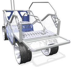 beach wagon with dividers and tailgate down, wheels for deep sand