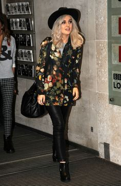 Perrie Edwards Looks Stylish In Leather As Little Mix Arrive At Radio 1:)