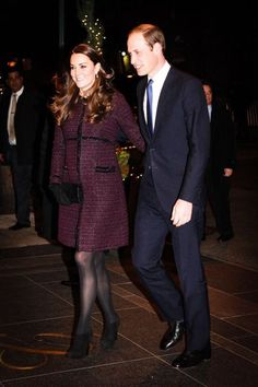 William and Kate arriving at the Carlyle Hotel 12/7/14  Kate wearing maternity coat by Seraphine.