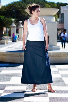 Long linen skirt. An effortless wardrobe essential. This skirt has adjustable waist buttons for your slim and not so slim days. We also added some inseam pockets to round of this one of a kind ankle length skirt. Linen clothing. Long skirt. Flax fiber. Classical dress. Navy blue. Pockets. Lonesome. Modern working woman. Casual clothing. Flax Fiber, Ankle Length Skirt, Linen Skirt, Working Woman, Clothing Items, Going Out, Midi Skirt, Casual Outfits, Navy Blue