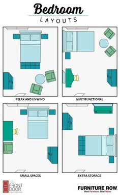 This Bedroom Layout Guide has four bedroom layouts to show how to arrange your b. This Bedroom Layout Guide has four bedroom layouts to show how to arrange your bedroom furniture. Maximize relaxation, storage, and small spaces in style! Bedroom Apartment, Home Bedroom, Room Decor Bedroom, Budget Bedroom, Apartment Living, Bedroom Setup, Living Rooms, Dorm Room, Living Room Ideas