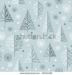 seamless Christmas pattern, snow covered trees
