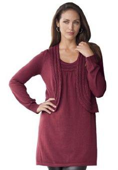 1f80ea15f5e Jessica London Plus Size 2-Pc. Cable Sweater Set Dark Red