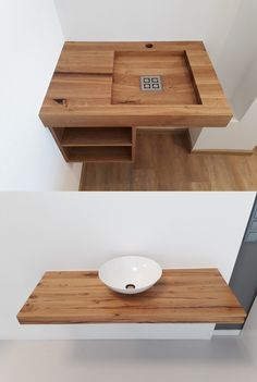 Wood Sink, Wood Bathroom, Bad Inspiration, Bathroom Inspiration, Sink Faucets, Sinks, Shoe Shelves, Wooden Kitchen, Woodworking Crafts