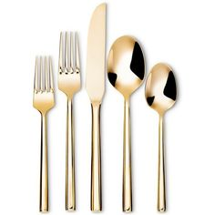 The Izon Flatware Set in Gold from Threshold has smooth, sleek contours and a golden mirror finish. The set of gold silverware includes 1 salad fork, 1 dinner fork, 1 knife, 1 large spoon and 1 small spoon. Gold Flatware, Flatware Set, Silverware Sets, Modern Serveware, Sweet Potato Dishes, Easter Table, Kitchen Dining, Kitchen Decor, Kitchen Interior