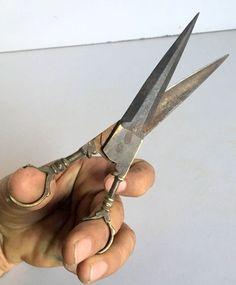 1890's Original Antique Old Brass Steel Hand Forged Rare Beautiful Scissor