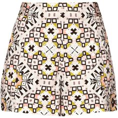 French Connection Electric Mosaic Shorts, Anemone Multi ($48) ❤ liked on Polyvore featuring shorts, print shorts, micro shorts, mini shorts, hot cotton pants and patterned shorts