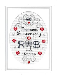 Diamond Wedding Anniversary cross stitch card kit