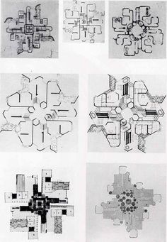 Francisco Javier Saenz de Oiza, Diagrammatic Plan Variations of the Torres Blancas, Madrid, Spain, Architecture Student, Architecture Drawings, Architecture Plan, Contemporary Architecture, Architecture Details, Conceptual Architecture, Concept Diagram, School Design, Madrid