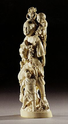 A Large Ivory Okimono Figure of a Farmer and Children, The Man Standing And…