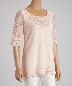 Loving this Pink Lace Top - Women on #zulily! #zulilyfinds
