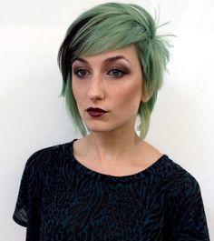 layered short to medium cut for pastel hair