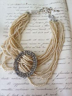 One of a Kind Antique Multi strand pearl and rhinestone buckle Necklace {if I wore pearls} Old Jewelry, Pearl Jewelry, Jewelry Crafts, Jewelry Art, Beaded Jewelry, Jewelery, Vintage Jewelry, Jewelry Necklaces, Handmade Jewelry