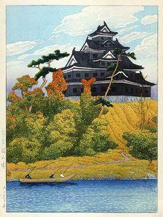 Kawase Hasui (1883-1957): Okayama Castle, 1922 by rachelpp
