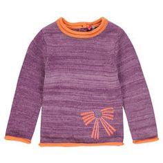 Pull manches longues en tricot effet chiné avec motif brodé