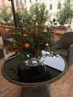 Arbusti, pigne, essenze e bacche dell'Oasi Zarda con arance e mele rosse per ravvivare e profumare gli spazi esterni.