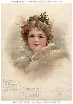 Wings of Whimsy: Frances Brundage 1899 Calendar #vintage #ephemera #freebie #printable #calendar #frances #brundage