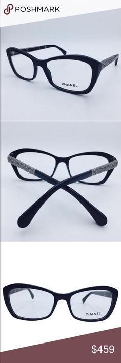 "Chanel moon crystal eye glasses 🤓 Squared Polished Black w/ Moon Crystal Design Eyeglasses 3297B 501  Good condition. There are no imperfections that will obstruct vision or prevent you from enjoying these beautiful eyeglasses for a fraction of the retail cost. 100% Authentic.   Delivered with case.  Frame Color: Black/ Silver Lens Color:Clear (display lenses may contain few scratches) Size:54 17 140mm Measurements:5""L x 2""H x 5""W CHANEL Accessories Glasses"