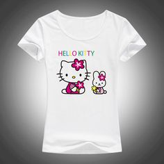 728f1080df26 2017 New Lovely Hello Kitty cartoon t shirts women summer cool cute shirt  Brand Good quality comfortable casual tops