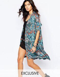Mega seje Reclaimed Vintage Long Kimono In Zig Zag Boho Print - Multi Reclaimed Vintage Toppe til Damer i dejlige materialer