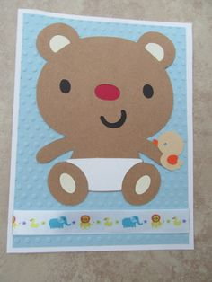 TEDDY BEAR Baby Card by PatsPaperCrafts on Etsy