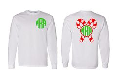 Monogram Candy Cane Adult Youth Toddler Long by VinylDezignz