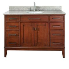 Pegasus, Manhattan 48 in. Vanity with Granite Vanity Top in Beige and White Undermount Basin (Center set), 11011A-VS49L at The Home Depot - Tablet