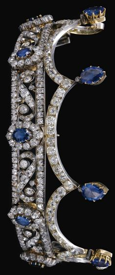 An antique sapphire and diamond tiara, late 19th century. Designed as a series…