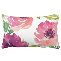 Watercolor Floral in Pink and Purple Lumbar Pillow