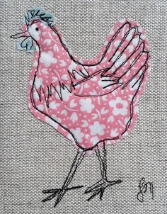 Pink chicken - framed freestyle machine embroidery £13.00