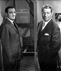 "Lino Ventura and Jean Gabin in ""Hands off the Loot"" Grisbi, Ouro Maldito) - a film of ""The 'Grisbi' Trilogy"" series Thomas Man, Jean Gabin, Actor Secundario, French Movies, Jean Luc Godard, Music Film, Studio Portraits, We The People, Movie Stars"