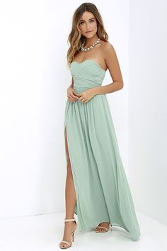 Moonlight Serenade Sage Green Strapless Maxi Dress at Lulus.com!