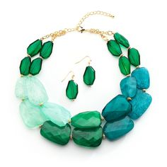 Shades of Green Chunky Bridesmaid and Prom Jewelry Set - Affordable Elegance Bridal -