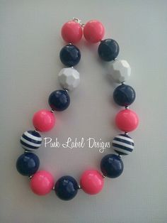 Hot Pink & Navy Chunky Bead Necklace by PinkLabelDesign on Etsy, $20.00