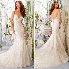 Mori Lee low back wedding gown. Lace wedding dress with low back. Low back…