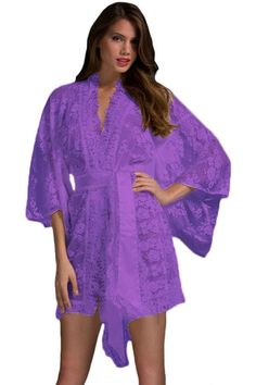 Chemise De Nuit & Nuisette Violet Belted Lace Kimono Pyjamas Pas Cher www.modebuy.com @Modebuy #Modebuy #Violet #me #sexy #vetements