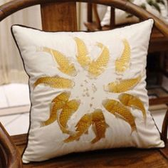 """Yellow Fish Embroidered Pillow 18""""X18"""""""