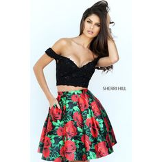 Black Red Sherri Hill 50774 Print Short Lace Homecoming Dress