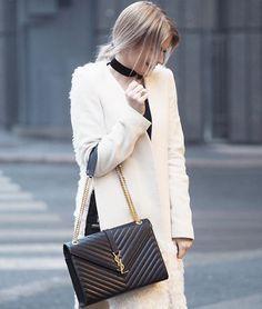 3ab529fbc8e0 Saint Laurent Medium Grained Matelassé Quilted Leather Shoulder Bag   StreetStyle