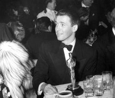 James Stewart at the 1941 Academy Awards dinner where he won the Oscar as Best Actor for his performance in The Philadelphia Story