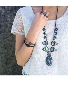 Essie Woven Bracelet in Black Drusy - Kendra Scott Jewelry. Kendra Scott Jewelry, Jewelry Necklaces, Bracelets, Abalone Shell, Essie, Jewelry Accessories, Bling, Jewels, My Style