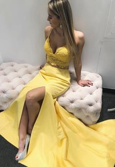 Beautiful two piece yellow long prom dress, pretty mermaid prom dress, Shop plus-sized prom dresses for curvy figures and plus-size party dresses. Ball gowns for prom in plus sizes and short plus-sized prom dresses for Straps Prom Dresses, Unique Prom Dresses, Popular Dresses, Formal Evening Dresses, Homecoming Dresses, Dress Formal, Party Dresses, Graduation Dresses, Lovely Dresses