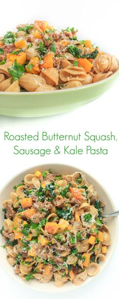 Roasted Butternut Squash, Sausage and Kale Pasta - The Lemon Bowl