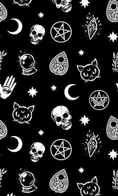 Witch Pattern Art Prints by Medusa Dollmaker Witch Wallpaper, Gothic Wallpaper, Halloween Wallpaper Iphone, Skull Wallpaper, Halloween Backgrounds, Dark Wallpaper, Screen Wallpaper, Galaxy Wallpaper, Wallpaper Backgrounds